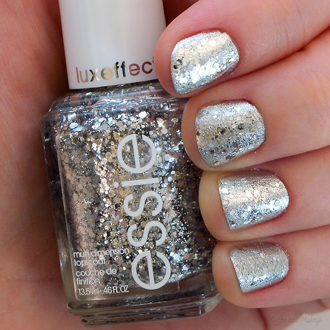 Essie Metallic Gold Nail Polish: NOTD: Sparkly Silver Holiday Nails