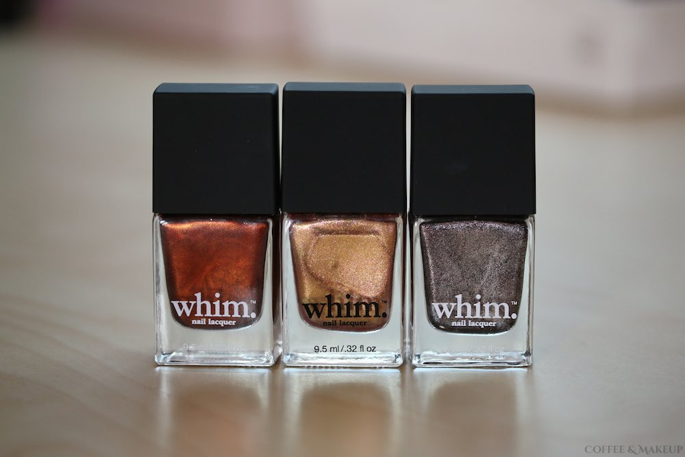 Whim Fall 2015 Nail Lacquers - Crackling Embers, Fallen Sunset, and Tall, Dark & Rich