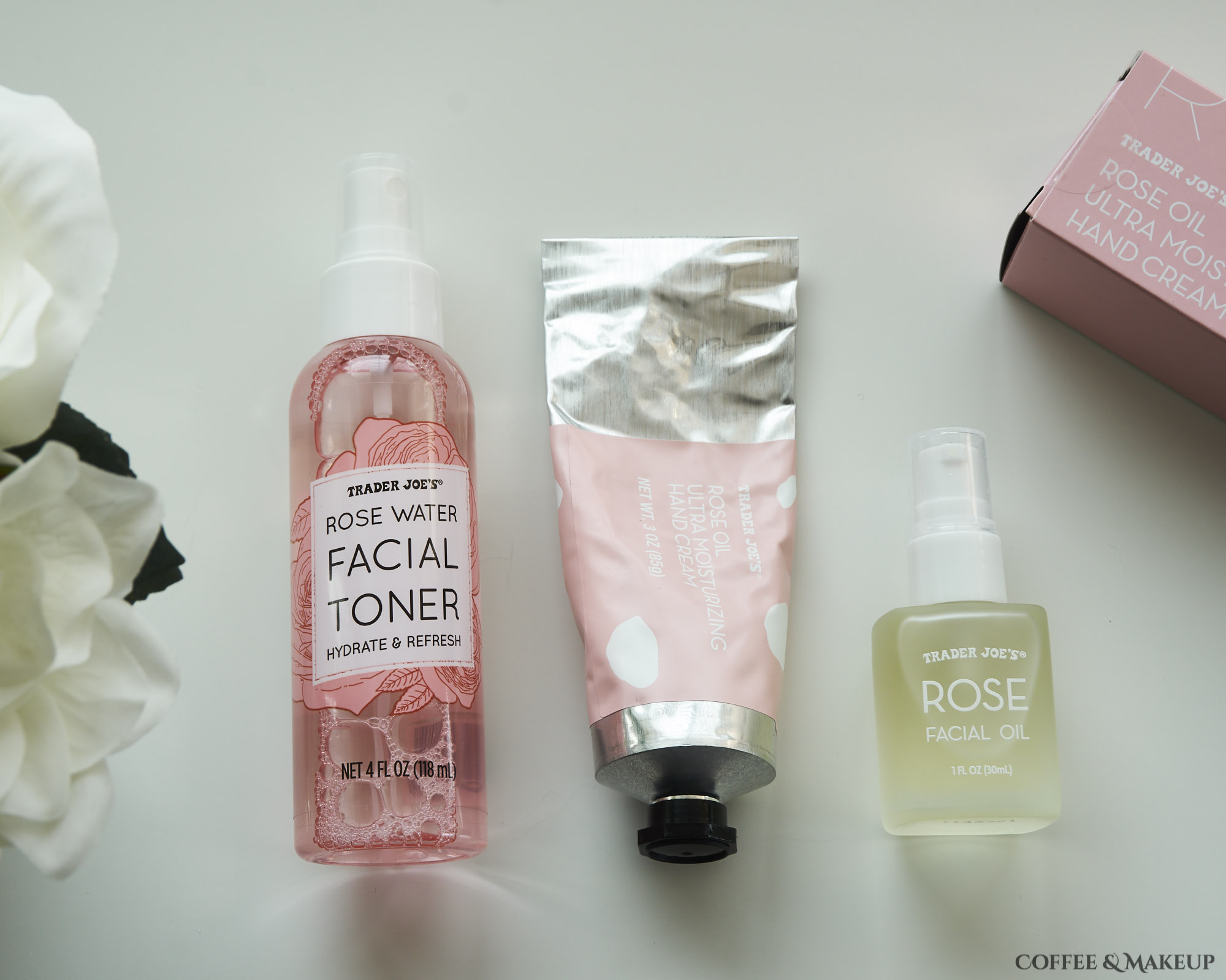 Trader Joe's Rose Water Facial Toner, Rose Oil Ultra Moisturizing Hand Cream, and Rose Facial Oil