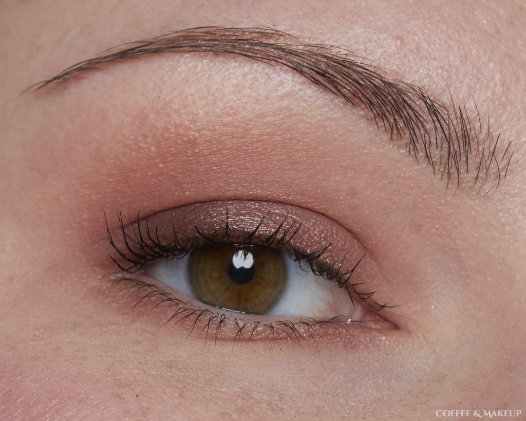 Wearing 3 Sheets (brow bone and inner lid), WTF (upper crease, lower lash line), Backtalk (lower crease), 180 (outer half of lid), Bare (lower lashline), and Curve (center of lid, applied with damp brush)