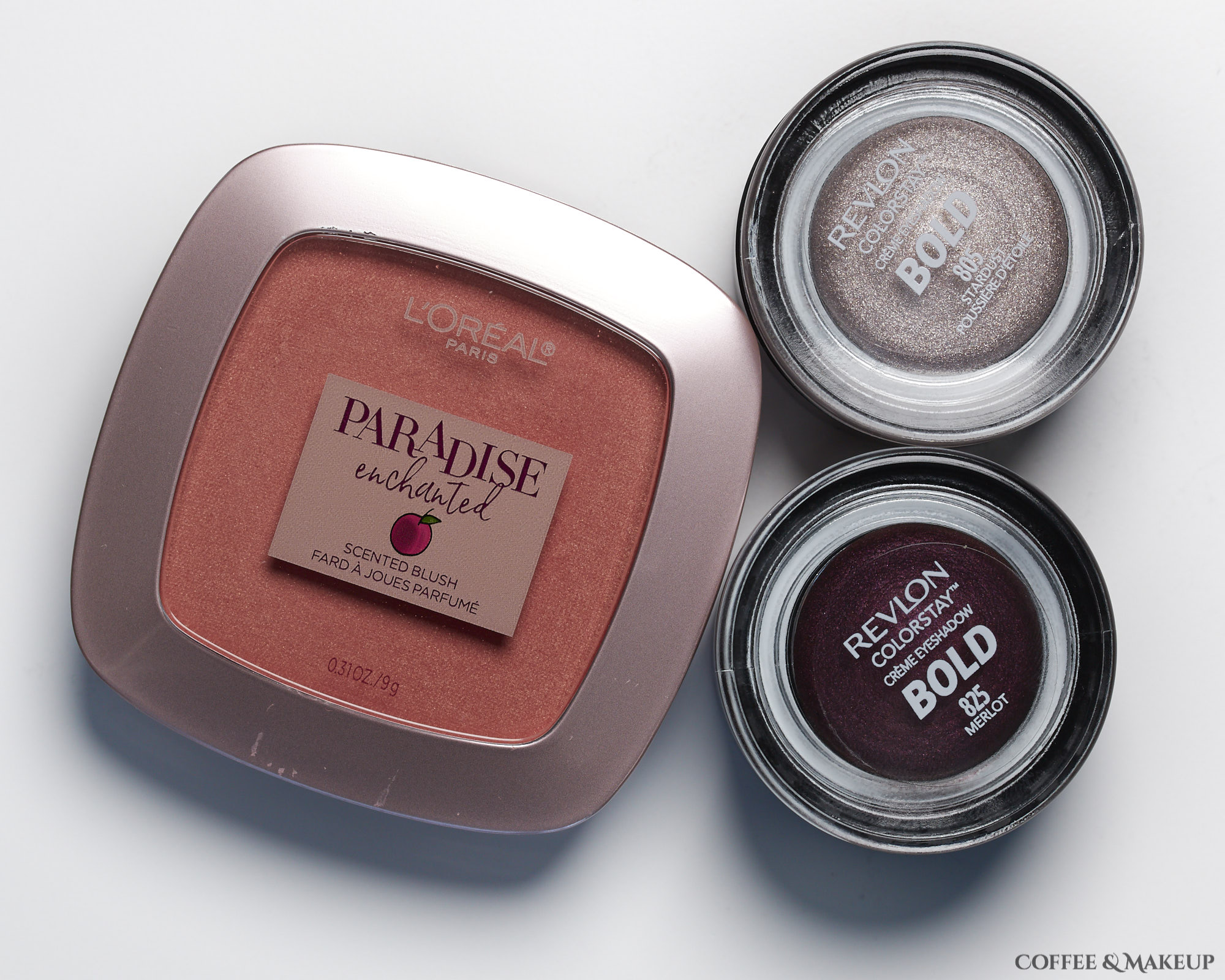 Loreal Enchanted Paradise Scented Blush in Fantastical and Revlon Bold Creme Eyeshadows in Stardust and Merlot