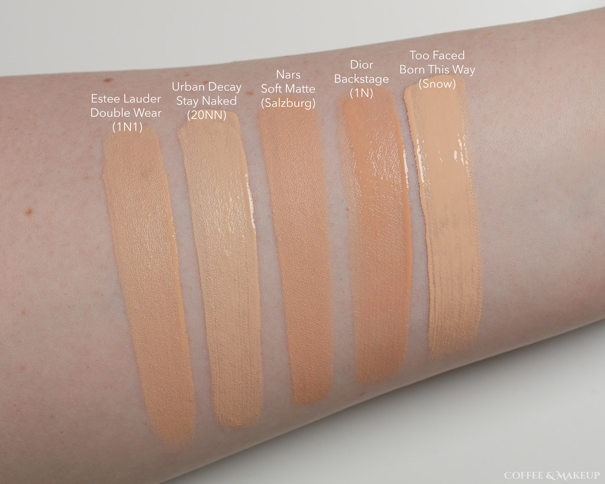 Nars Soft Matte Complete Foundation Comparison Swatches