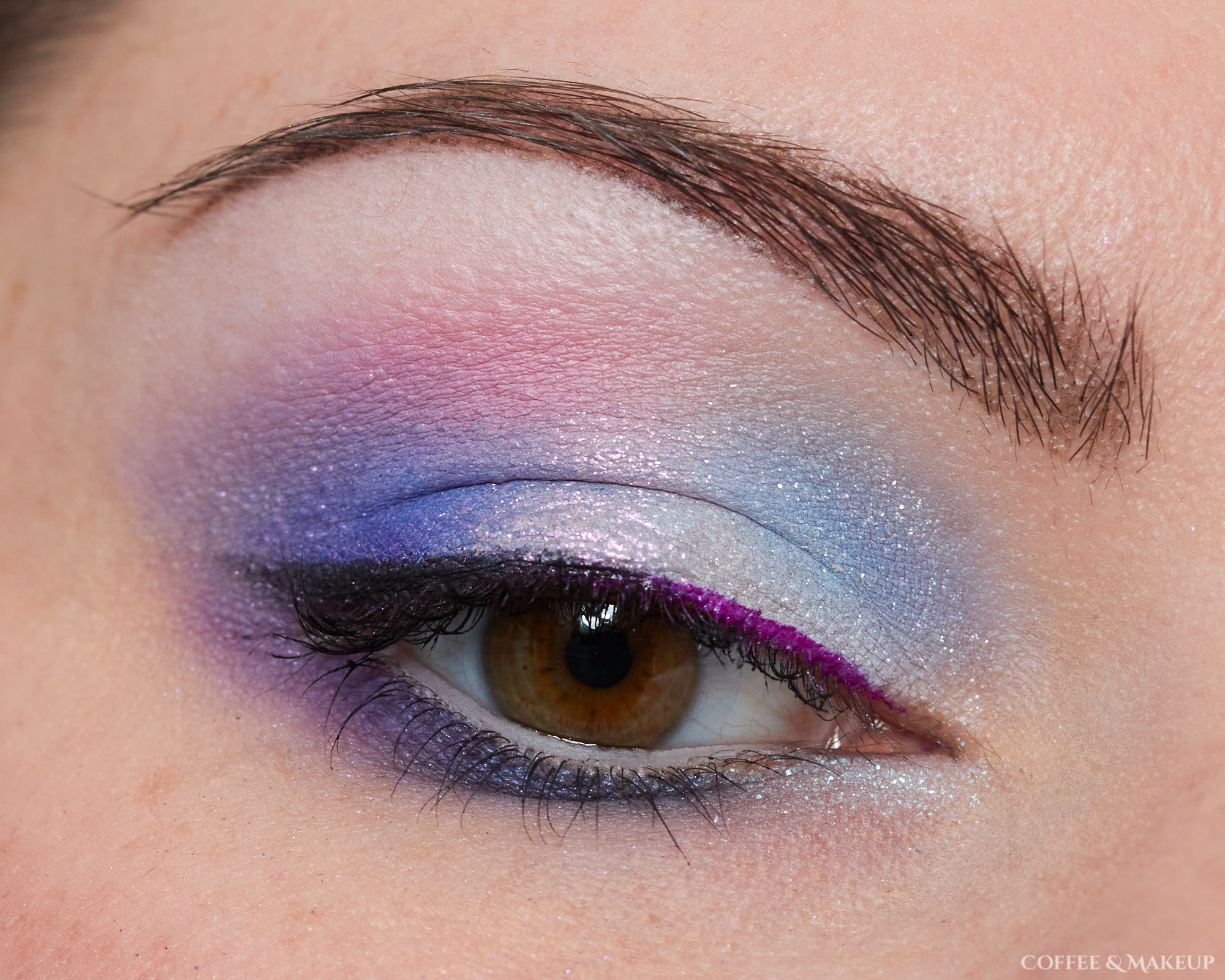 Blue, purple, and pink eyeshadow look