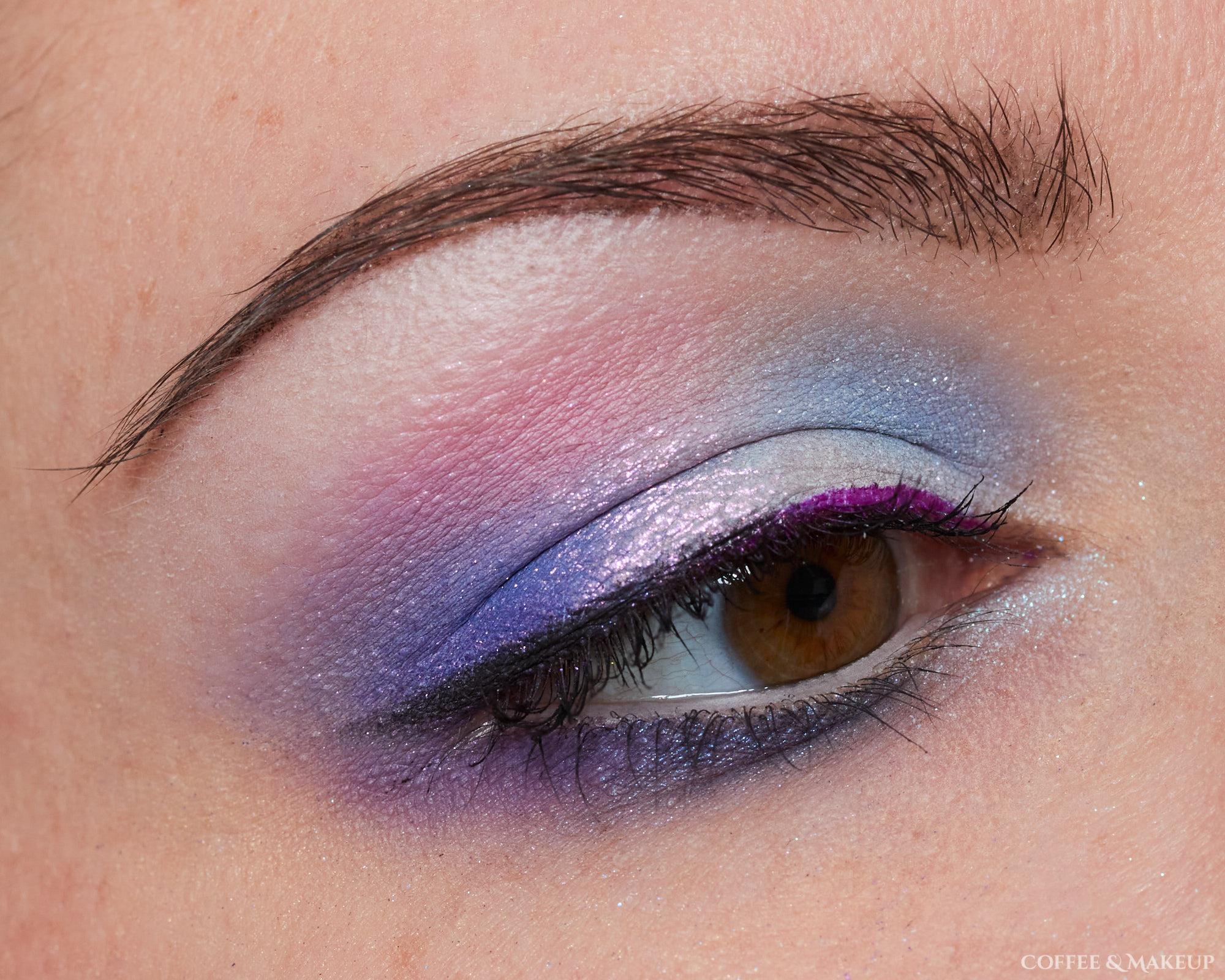 Blue, purple, and pink eyeshadow look