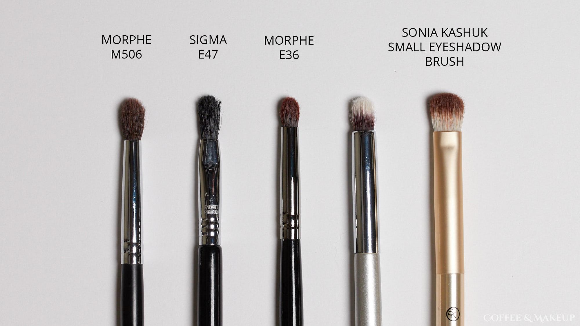 Morphe M506, Sigma E47, Morphe E36, Sonia Kashuk Small Eyeshadow Brush