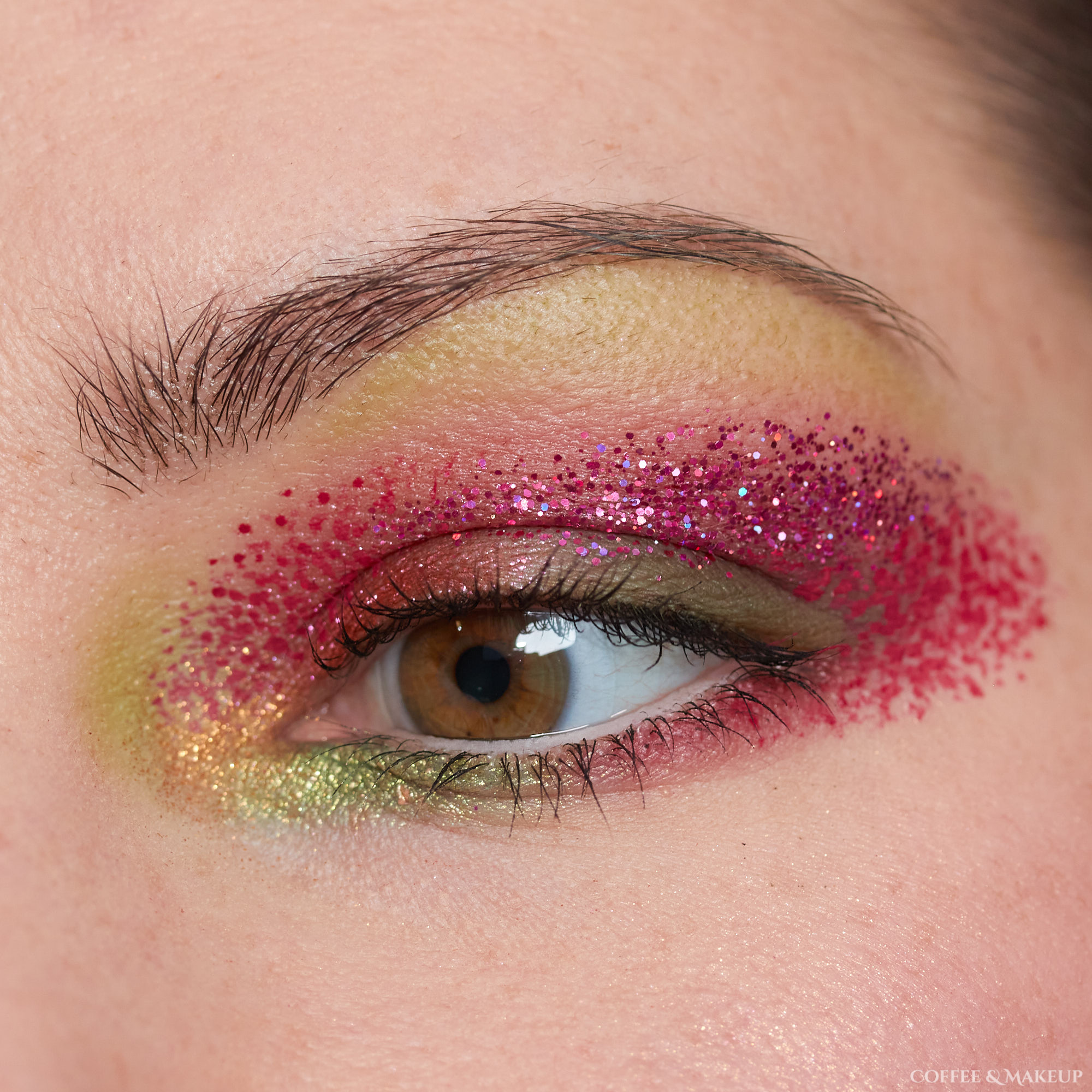 Pink and green glitter eye makeup look